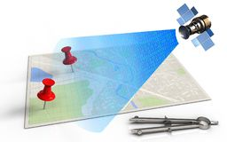 3d blank. 3d illustration of bright map with red pins and satellite digital signal Stock Image