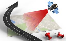 3d road arrow. 3d illustration of bright map with road arrow and satellite Royalty Free Stock Photography