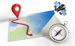3d blank. 3d illustration of bright map with route and satellite stock illustration