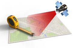 3d ruler. 3d illustration of bright map with ruler and satellite vector illustration