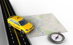 3d bright map. 3d illustration of bright map with taxi and compass Stock Photos
