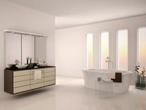 3d illustration of bright minimalistic interior Stock Photo