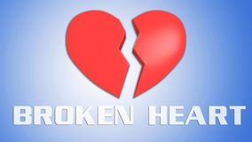 BROKEN HEART concept. 3D illustration of BROKEN HEART title on red broken heart, isolated blue grad Stock Image