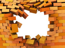 Broken wall. 3d illustration of broken hole in brick wall Royalty Free Stock Images