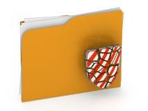3d illustration of broken security folder - virus concept - 3d r Stock Photos