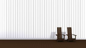 Brown Adirondack chairs. 3D illustration brown Adirondack chairs in empty room Stock Photography