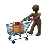 3D Illustration, Brown figurine, shopping cart, shopping Royalty Free Stock Photos