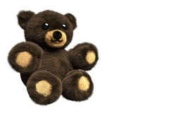 3D Illustration of a brown furry teddy bear. On isolated background with negative space Royalty Free Stock Photography
