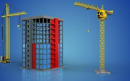3d of building construction. 3d illustration of building construction with crane over blue background Royalty Free Stock Images