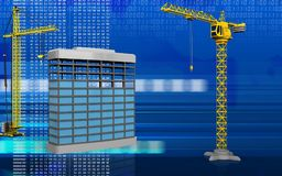 3d of building construction. 3d illustration of building construction with crane over digital background Stock Photography