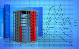 3d with drawing roll. 3d illustration of building construction with drawing roll over graph background Stock Photography
