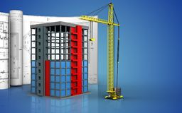 3d of building construction. 3d illustration of building construction with drawings over blue background Royalty Free Stock Photos