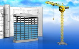 3d of building construction. 3d illustration of building construction with drawings over sky background Stock Photos