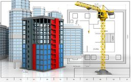 3d of building construction. 3d illustration of building construction with urban scene over blueprint background Stock Image