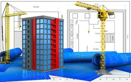 3d of building. 3d illustration of building with crane over blueprint background Stock Image