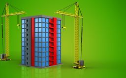 3d of building. 3d illustration of building with crane over green background Stock Photos
