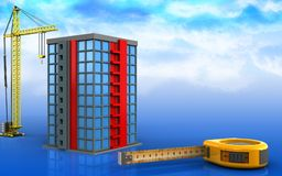 3d of building. 3d illustration of building with crane over sky background Stock Image
