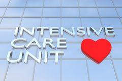 Intensive Care Unit (ICU) concept. 3D illustration of a building with the script INTENSIVE CARE UNIT along with heart icon Stock Image