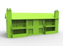 3d illustration of building. Simple to use. on white background  with shadow. icon for game or web. eco building. expensive purchase. green colors Stock Images
