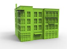 3d illustration of building. Simple to use. on white background  with shadow. icon for game or web. eco building. expensive purchase. green colors Stock Photo