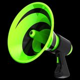3d illustration of bullhorn megaphone news blog propaganda. Communication announce symbol. Green loudspeaker basic icon. Public agitation advertising sale Royalty Free Stock Photo