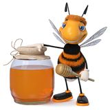 3d illustration bumblebee funny cartoon character. 3d illustration farmer`s insect producing honey Stock Photography