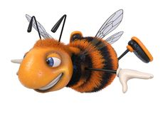 3d illustration bumblebee funny cartoon character. 3d illustration farmer`s insect producing honey Royalty Free Stock Photography