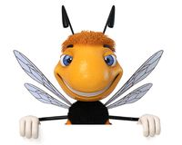 3d Illustration Bumblebee with the poster. 3d Illustration striped insect advertizes the sweet goods Stock Photos