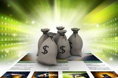 Bundles of money in bags. 3d illustration of Bundles of money in bags in color background Stock Photos