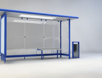 3d illustration of bus stop. 3d illustration of blue bus stop Stock Images
