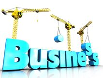 3d business blue color over white. 3d illustration of business blue color sign with cranes over white background Stock Photography