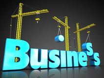 3d business blue color over black. 3d illustration of business blue color sign with three cranes over black background Royalty Free Stock Photography