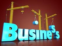 3d business blue color over red. 3d illustration of business blue color sign with three cranes over red background Stock Images