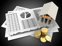 3d coins. 3d illustration of business charts and bank over black background Royalty Free Stock Image