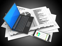 3d black laptop. 3d illustration of business charts and black laptop over black background Stock Photography