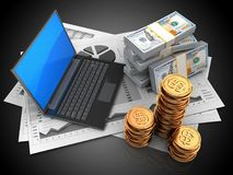 3d black laptop. 3d illustration of business charts and black laptop over black background with money Stock Photos
