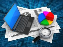 3d black laptop. 3d illustration of business charts and black laptop over digital background with pie chart Stock Photos