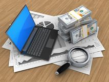 3d black laptop. 3d illustration of business charts and black laptop over wood background with money Stock Photography