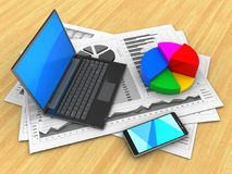 3d black laptop. 3d illustration of business charts and black laptop over wood table background with pie chart Royalty Free Stock Photography