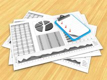 3d blank. 3d illustration of business charts and clipboard over wood table background Stock Photography
