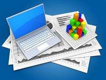3d computer. 3d illustration of business charts and computer over blue background with graph Stock Photos