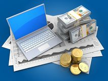 3d money. 3d illustration of business charts and computer over blue background with money Royalty Free Stock Photo