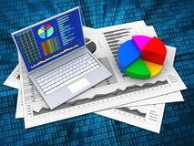 3d charts. 3d illustration of business charts and pc over digital background with pie chart Royalty Free Stock Images