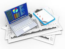 3d blank. 3d illustration of business charts and pc over white background with clipboard Stock Photography