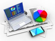3d pie chart. 3d illustration of business charts and pc over white background with pie chart Royalty Free Stock Images