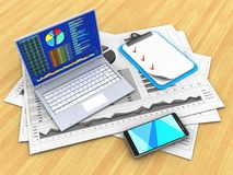 3d pc. 3d illustration of business charts and pc over wood table background with clipboard Royalty Free Stock Images