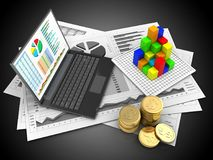 3d coins. 3d illustration of business charts and personal computer over black background with graph Royalty Free Stock Image