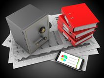 3d business charts. 3d illustration of business charts and safe over black background with binder folders Stock Photo