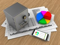 3d phone. 3d illustration of business charts and safe over wood background with pie chart Royalty Free Stock Photos