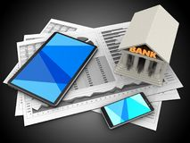 3d bank. 3d illustration of business charts and tablet computer over black background with bank Stock Image